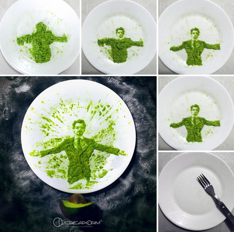 Рисунки из авакадо на тарелках (21 фото)