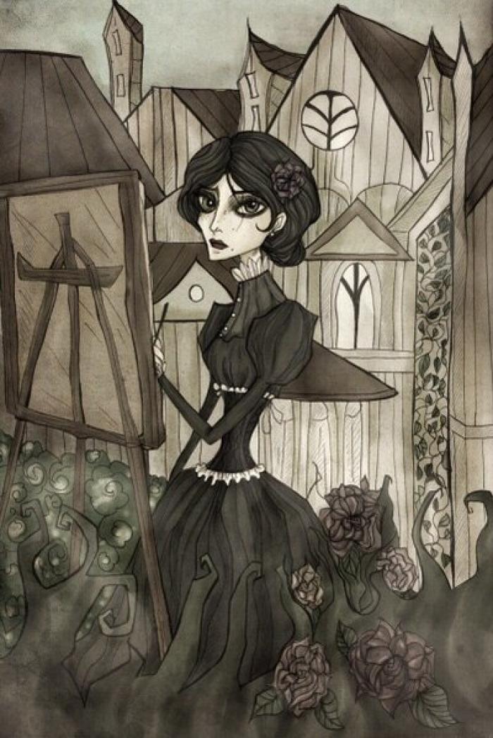#darkart #darkfantasy #fantasy #gothic #gothicfashion #gothicgirl #iris #thewitcher3 #witcher3 #mixedmedia | Author: elisacoyote