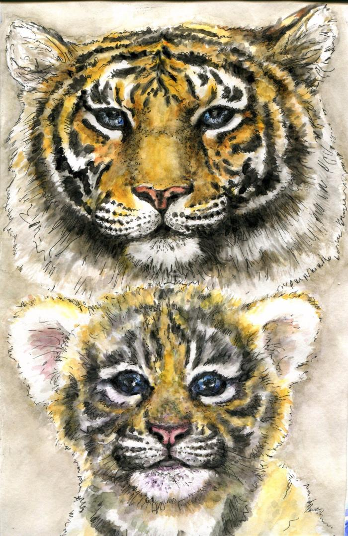 #art #tiger #tigercub #watercolor #liners #growingup #mywork #present #gift #work #mixedtechnique #арт #тигр #тигренок #акварель #лайнеры #периодвзросления #мояработа #подарок #смешаннаятехника | Author: TSir