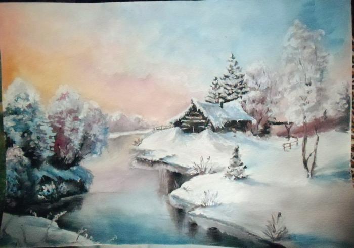 #mywork #winter #christmas #snow #cold #colors #watercolor #lake #multicolored #pastelcolors #magicnature #мояработа #зима #рождество #снег #холод #краски #акварель #озеро #разноцветный #пастельныецвета #магияприроды | Author: TSir