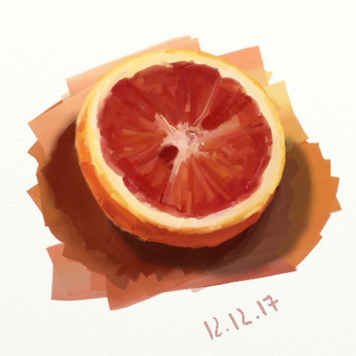 3 утра.  Учусь рисовать цитрусы.   #orange #practice #digital #shadow #double  | Author: bigorangemango