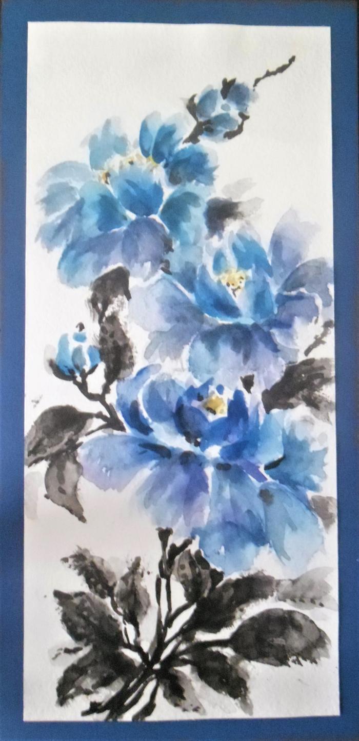 #card #coldcolors #flowers #gift #mywork #акварель #арт #цветы #подарок #техника #тона #art #холодные #открытка #японскаятехника #craft #equipment #watercolor #мояработа #japanesetechnology | Author: TSir