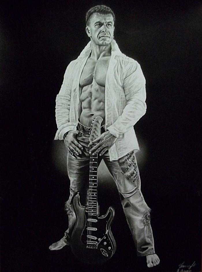 Портрет Сергей Гесь, мастер спорта международного класса, чемпион Европы по бодибилдингу IFBB . Формат А3 (белая бумага), простые карандаши. | Author: Нина Валко