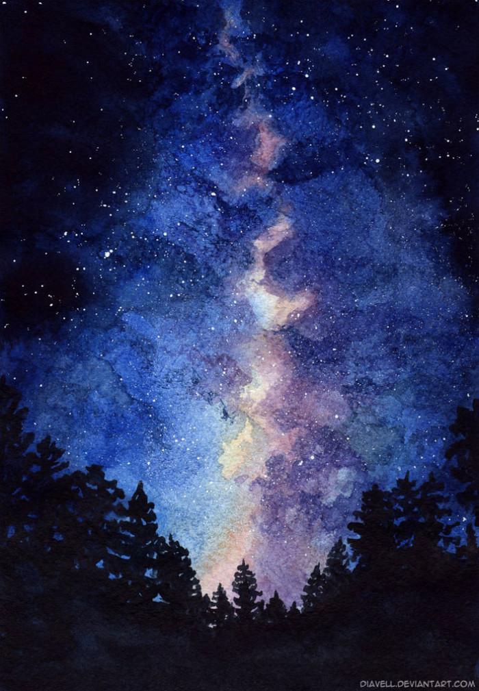Звездное небо рисунок акварелью, идеальная