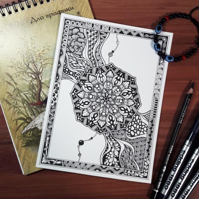 Моя вторая работа в технике зентангла )  #Werlioka #traditional_art #zentangle #Mandala | Author: Werlioka