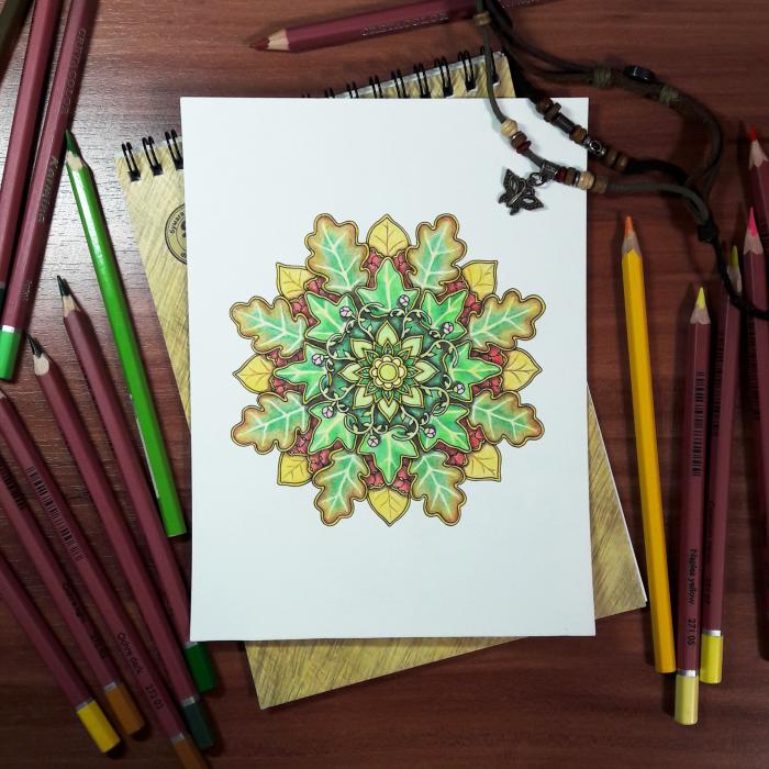 Лиственная Мандала )  #Werlioka #traditional_art #zentangle #Mandala | Author: Werlioka