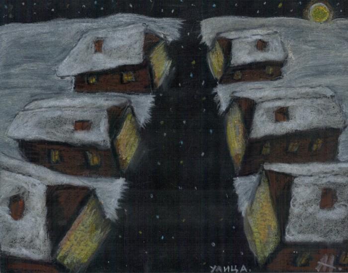 Улица (195*150, бумага, масляная пастель) | Author: Алексей Макаревич