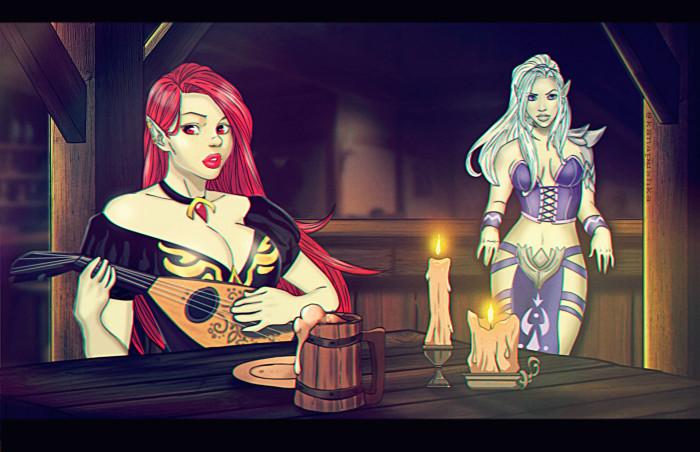 Однажды в таверне..... Legend of the Vampire #вампир #легенда_о_вампире #лов #аниме #мечница #лучница #лютня #меч #такара #свидание #kanapushka Освободив небольшую деревушку Такары от очередного терроризировавшего ее оборотня, усталая, но довольная Бланш возвращалась домой. Путь ее пролегал мимо таверны Бенжиро, так что не долго думая, молодая охотница решила заскочить туда, чтобы как следует отдохнуть и потратить несколько честно заработанных золотых. Однако, во всегда шумной и кишащей наемниками таверне было непривычно тихо. Взгляды всех вампиров и паладинов были обращены в одну сторону. С замиранием сердца они слушали потрясающе красивую мелодию, которую исполняла молодая вампирша с огненными воласами. Как и остальные посетители таверны, Бланш была загипнотизирована звуками этой чарующей мелодии. После того, как отзвучали последние аккорды, она решила угостить талантливого менестреля кружкой пива. За разговором охотница узнала, что Кармилла, так звали ее новую знакомую, сбежала из дома, чтобы избежать династического брака и теперь скрывается, избегая гнева отца семейства, лорда Сантанико. Решение помочь этой бедняжке пришло сразу же, как Кармилла закончина свою печальную историю. И с тех пор девушки не расстаются, путешествуя по дорогам Такары и сражаясь с полчищами монстров, населяющими эту прекрасную страну. Music:Rolf Lislevand-Arpeggiata addio | Author: Kanapushka