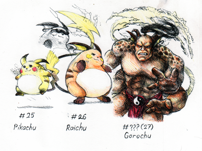 Pikachu actually had a second evolution called 'Gorochu'. It looked like Raichu with long fangs and even horns Вот только при имени у меня ассоциация с другим персонажем возникла, отсюда и рофл | Author: Neutral Demon