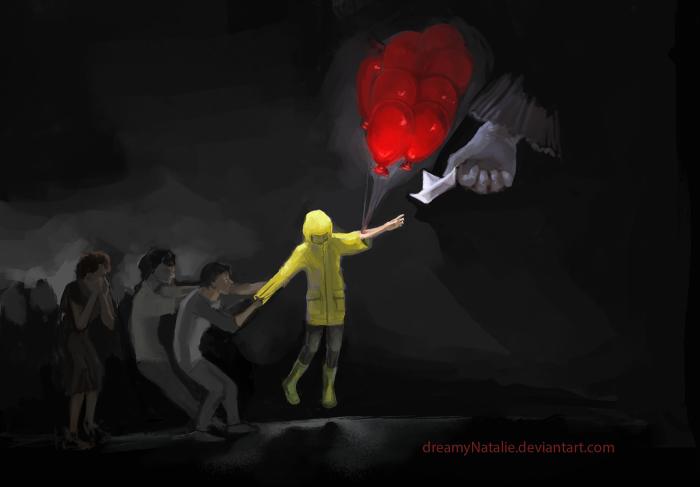 """Фан-арт по фильму ужасов """"Оно""""(2017). Друзья пытаются спасти Джорджи, но уже слишком поздно.   Author: DreamyNatalie"""