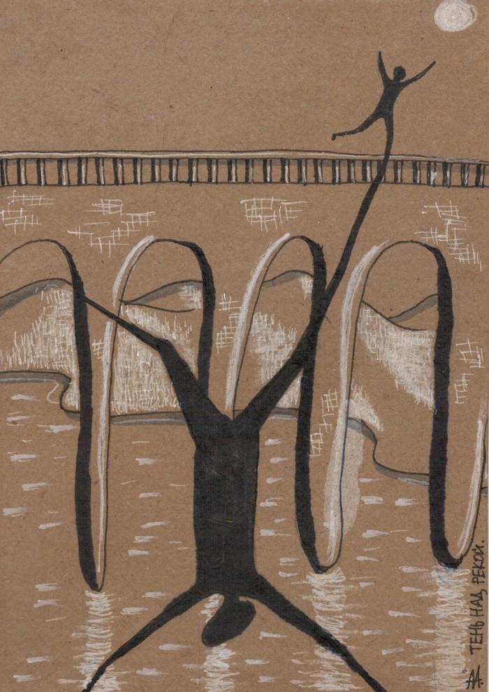 Тень над рекой (148*210, крафтовая бумага, маркеры, мел) | Author: Алексей Макаревич