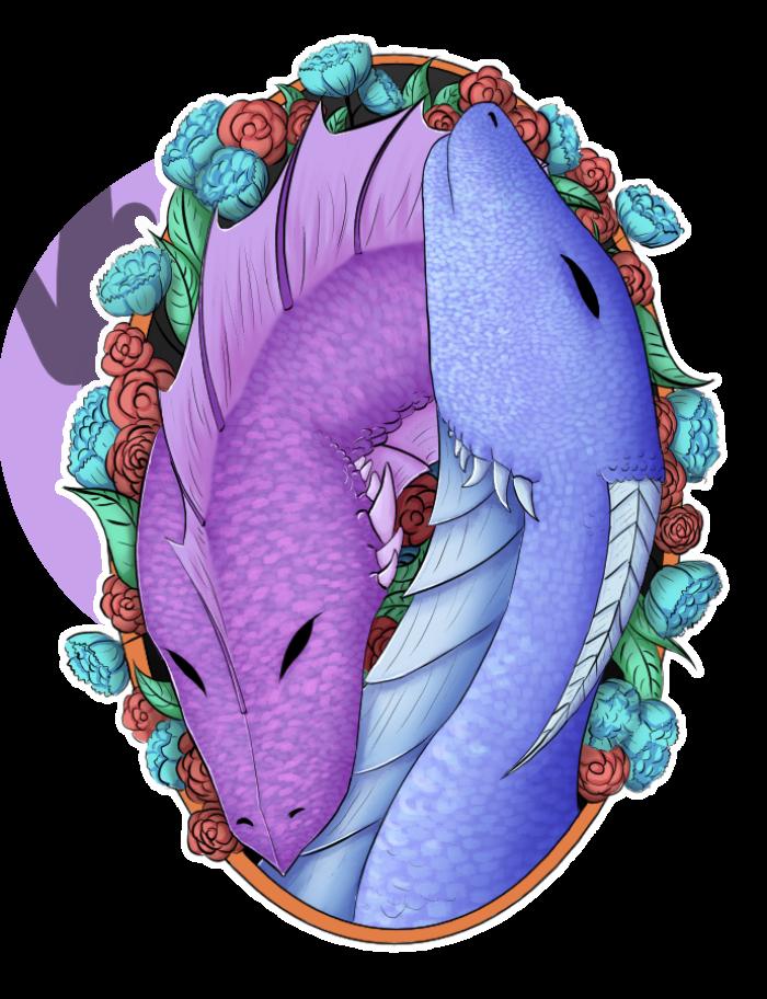 https://vk.com/public168326119 #стикер #дракон #цветы #овал #рисунок  | Author: Тенёк