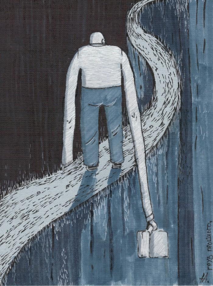 Груз прошлого (140*190, бумага, маркеры) | Author: Алексей Макаревич