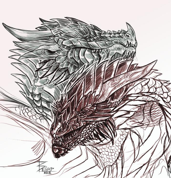 Скетч с проекта и маленький гифт.  #project #dragons #sketchs  | Author: Beliar