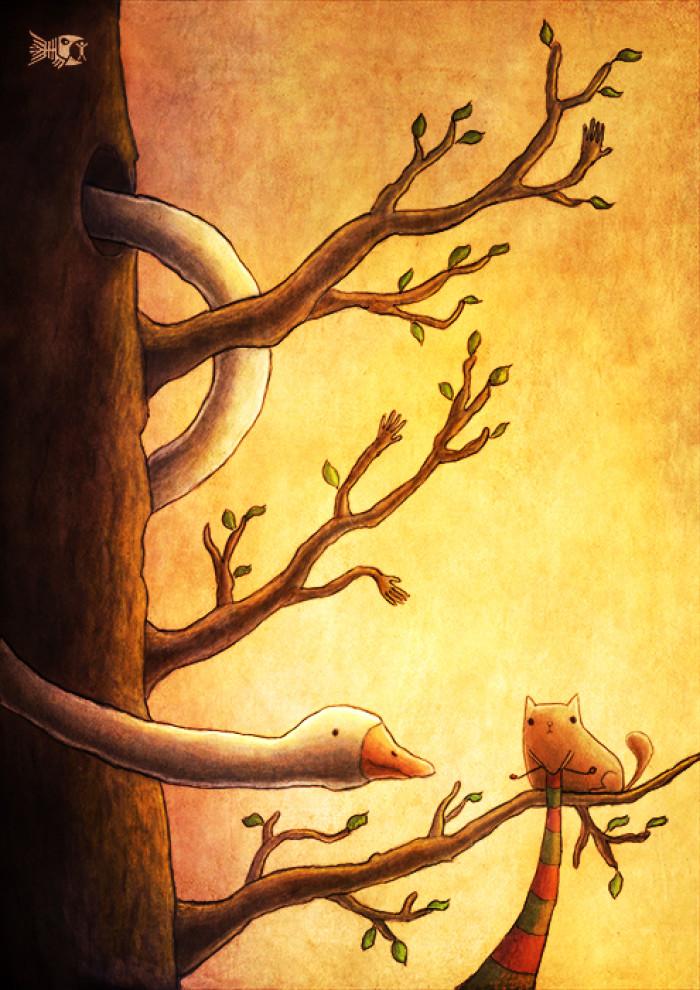 Мистер Кнокис вяжет шарф для Змеегуся.  Получается неплохо. | Author: Daniel Venekurt