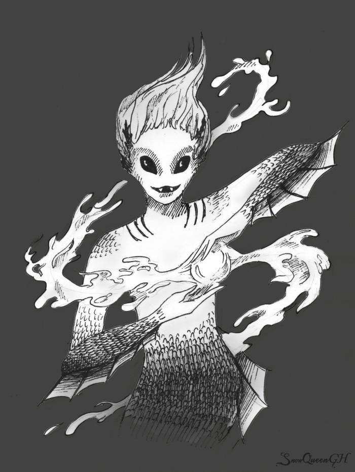 [ Inktober #10 ] [ хотела нарисовать милую девушку, а вышел почти утопец ]  ~~~~~~~~~~~~~~~~~~~~~~~~~~~~  #sketch #скетч #inktober #inktober2018 #инктобер #инктябрь #flowing | Author: SnowQueenGH