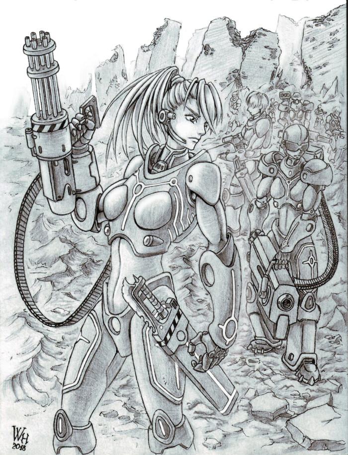 """Стальные девы   На протяжении длительного времени постоянных осад и нападений чудовищ, остатки человечества научились давать отпор иномирным агрессорам.   Крадя технологии у """"врагов"""", люди развивали оружие, способное противостоять магии демонов или достаточно сильное, чтобы уничтожать машины Тэка.   К такому оружию стали относить и генно-модифицированных людей. В своей ранней стадии эксперименты с генами приводили к сильным побочным эффектам, но, в условиях выживания вида, человеческое Командование все же решилось применять улучшенных (или дефектных) людей в военных целях. Невероятные физические нагрузки и дикая выживаемость были теми самыми желанными эффектами, которых люди так хотели достичь - теперь модифицированный человек мог буквально в одиночку противостоять человекоподобному демону. А с достаточной огневой поддержкой и вовсе уничтожать противников покрупнее. Побочными эффектами всех экспериментов становились агрессивность, безумие и смерть - модифицированные мужчины становились невообразимо сильными, однако в интеллектуальном плане они были ничуть не лучше демонов-вторженцев. Модифицированные женщины имели не такие высокие показатели физических способностей, но при этом сохраняли должный уровень интеллекта, чтобы вести воинскую службу.   Первым сборным отрядом генно-модифицированных женщин стали """"Стальные девы"""". Уникальные дамочки могли нести при себе чуть ли не танковое вооружение, а нынешняя агрессивность напрочь перебивала чувство страха перед монстрами. """"Надрессированные"""" достаточно, чтобы слушаться приказов Командования, Стальные девы были козырем в столкновениях с чудовищами. Вооруженные тяжёлыми пулеметами и ракетницами дамочки, оставляли после себя горы трупов или выгоревшие пустыри.   Не смотря на жестокие, но весьма эффективные, методы достижения целей, Командование в целом одобряло работу """"Дев"""", ссылаясь на отсутствие всякой жалости к любому нечеловеческому виду. Нелюди в тот момент активно заселяли постапокалиптическую Землю, да только далеко не """