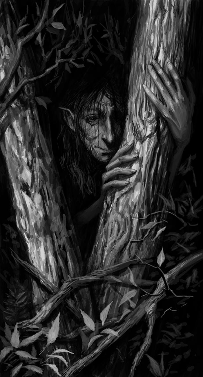 Гилли Ду.  Это такая разновидность фейри из шотландского фольклора. Они обитают в лесах и иногда помогают заблудившимся путникам найти дорогу.  Я, как большой поклонник работ Фрауда и Монже, не люблю рисовать фейри миленькими и красивенькими - скорее они у меня немного гротескные и жутковатые )  #Werlioka | Author: Werlioka