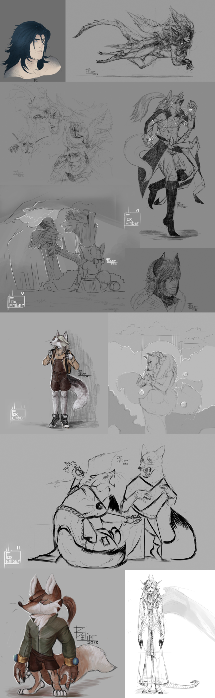 #original_characters #dragon #skecth #fox #raven #devil #fairy   Скетчи за осень 2018  | Author: Beliar