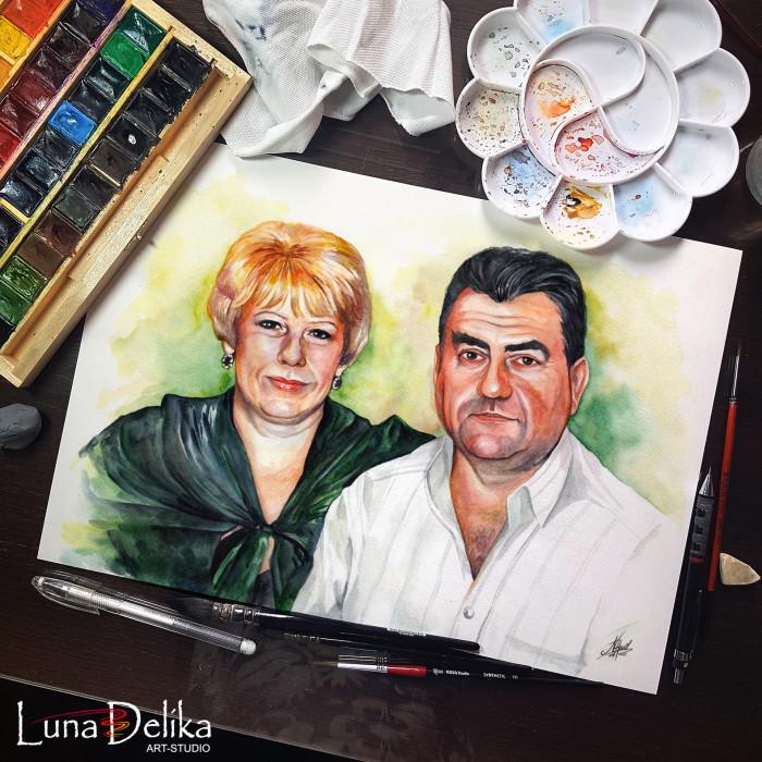 #LunaDelika_Portrait #ПортретпоФото #портретназаказ #portrait Продолжаем юзать акварель) Потрет родителей для подруги Нади  | Author: Natali Hall