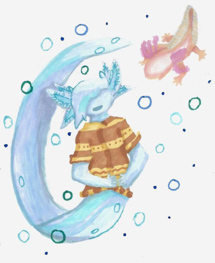 Аксотер гифт для подруги #axolotl #water #oc | Author: София Лукачева