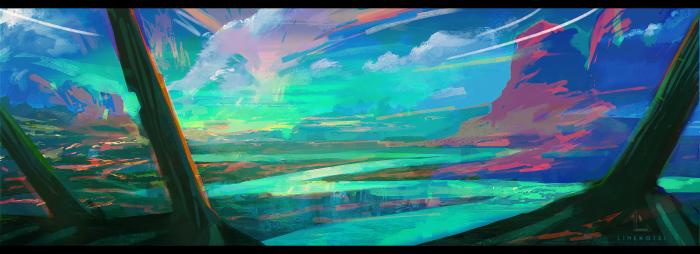 Я так долго не рисовала пейзажи! И хотела использовать яркие цвета. artstation - https://www.artstation.com/linekotsi vk group - https://vk.com/linekotsi #artwork #conceptart #digitalart #environment #fantasy #landscape #art | Author: LineKotsi