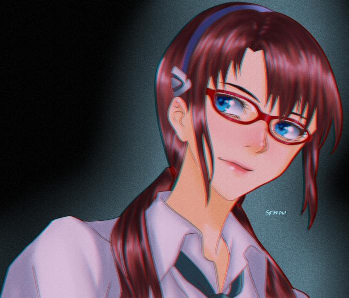 #anime #character #glasses #neongenesisevangelion #mariillustriousmakinami #fanart #digitalart | Author: Grimmanko