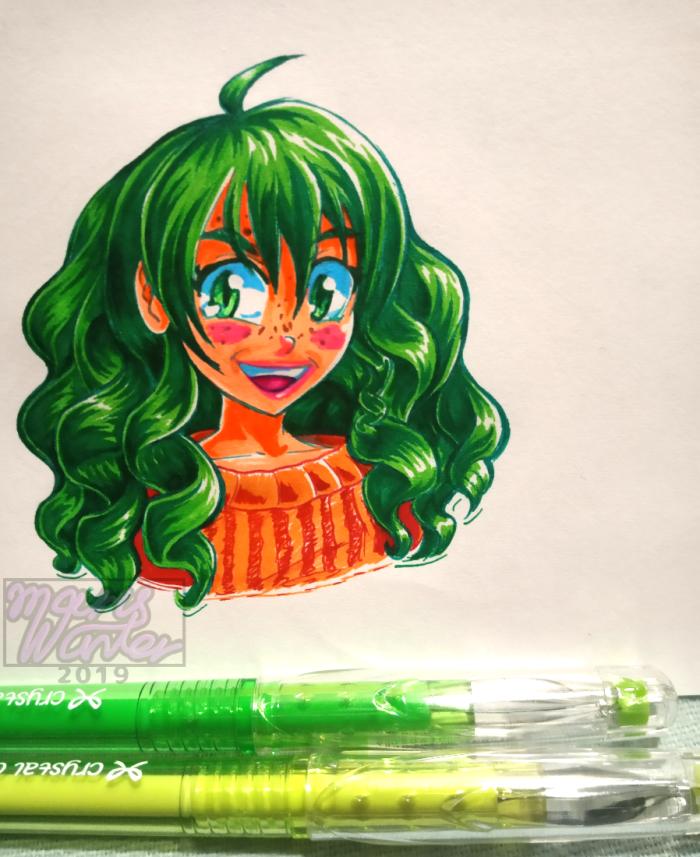 Просто небольшая практика в рисовании волос. Почему-то моя левая пятка выбрала именно зелёный цвет. | Author: Canella