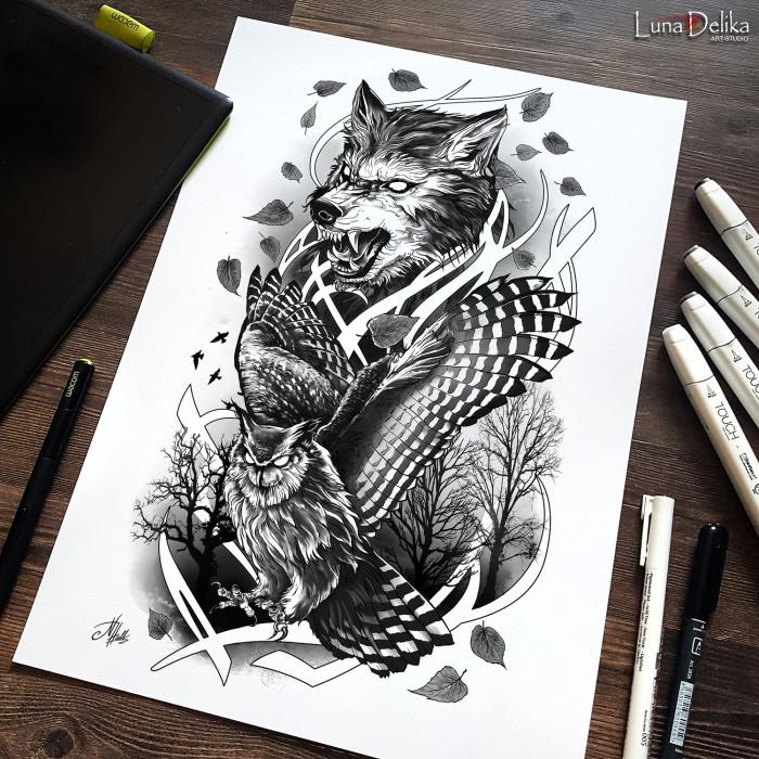 Недавно делала такой вот эпик-полурукав на заказ) Как вам работка?  #LunaDelika_Tattoo #TattooDesign #TattooSketch #graphica #эскизрукава #дизайнтатуировки | Author: Natali Hall