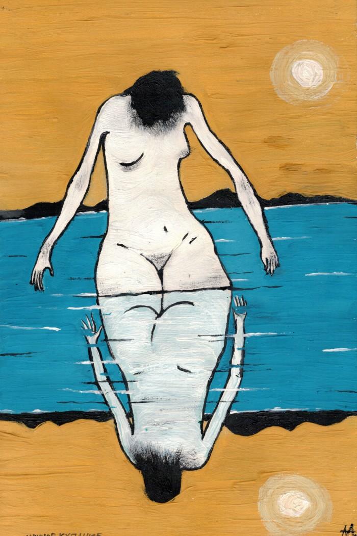 Ночное купание (295*300 мм, бумага, гуашь) | Author: Алексей Макаревич