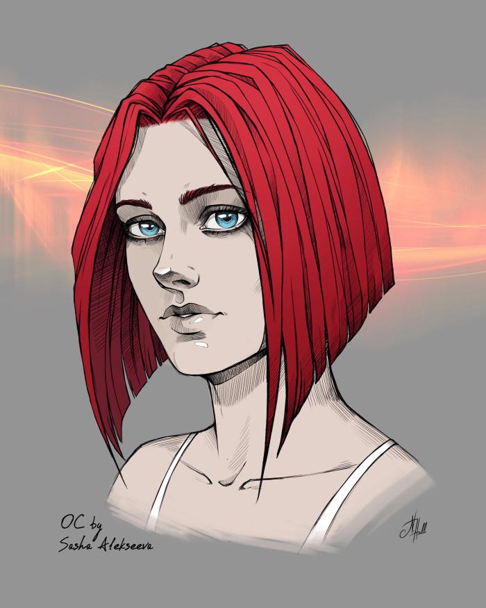 Никки - OC моей знакомой Саши Алексеевой. Давно уже думала нарисовать эту девушку, очень она мне нравится) И не только из-за красных волос, но это тоже :D  #Oc #OriginalCharacter #digitalArt #conceptArt #дизайнперсонажа #charactersdesign  | Author: Natali Hall