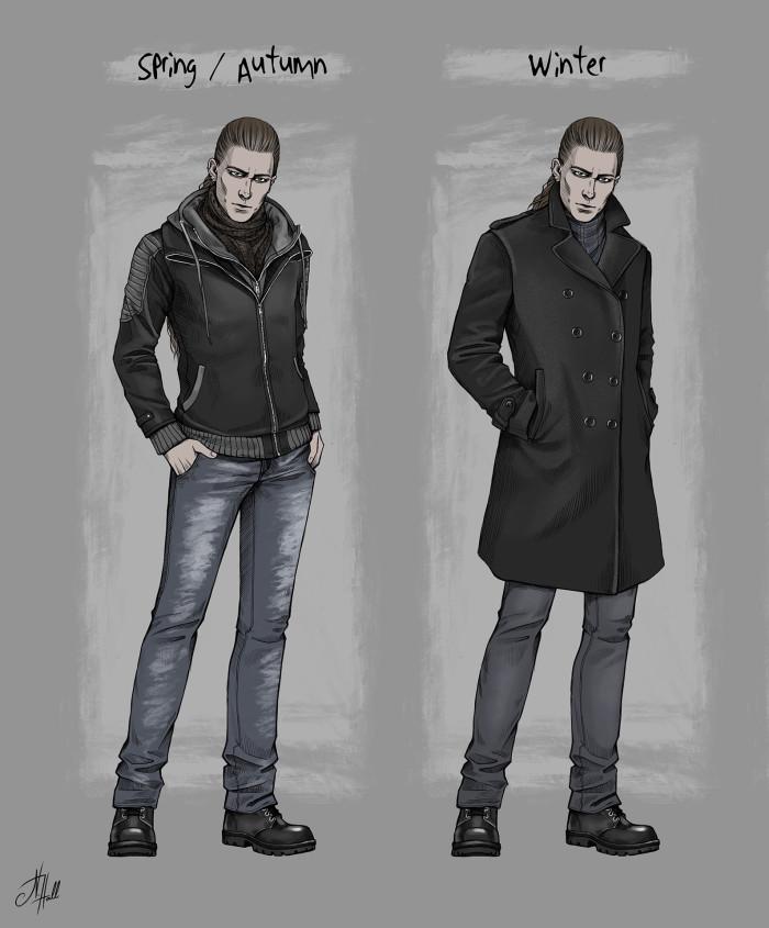 Эмм, кто там говорил: «сделаю второму персонажу всего 3-4 образа»? Ну да, три-четыре... XD Не Дебра, конечно, со своими 15-ю луками, но мороки тоже было не мало. Хотя разнообразия куда меньше, чем у Хаген. Как говорится, тот случай, когда твой персонаж списан с реального человека, который не особо заморачивается с одеждой и носит в основном серо-чёрное :D Хотя этот его стиль «свободной одежды» я пару раз прокляла, рисуя все эти складочки -__- Короче, как-то так выглядит в романе мой Маэстро.  #ADarkEmbrace_Novel #OC #OriginalCharacter #fanfic #digitalArt #personalArt #conceptArt #дизайнперсонажа | Author: Natali Hall