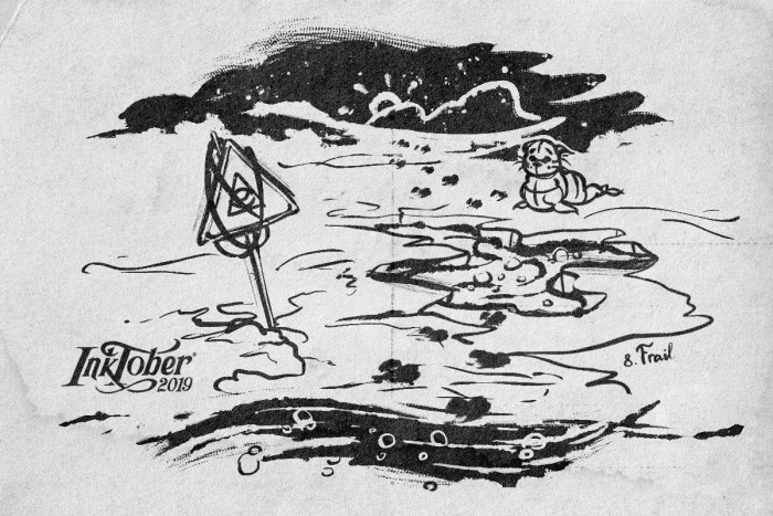 "#inktober #inktober2019 День 8. Frail | Хрупкий  ""Лед не ковер, чтоб на нем валяться."" | Author: MGimg"