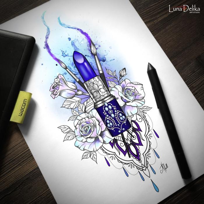 Ребят, я жива. Простите, что долго не было обновлений. Сейчас я трачу много времени на работу над книгой и рисую редко, и то в основном по той же книге. Вдохновение – штука такая, если тебя прёт на одно и не прёт на другое, надо заниматься тем, что прёт. Но заказы временами были, так что покажу, что нарисовалось за всё это время :)  Первый пошёл)  #LunaDelika_Tattoo #TattooDesign #TattooSketch #дизайнтату #эскизтату | Author: Natali Hall