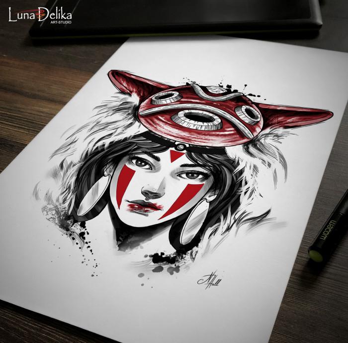 А как вам такой эскизик? Принцесса Мононоке.  #LunaDelika_Tattoo #TattooDesign #TattooSketch #дизайнтату #эскизтату | Author: Natali Hall