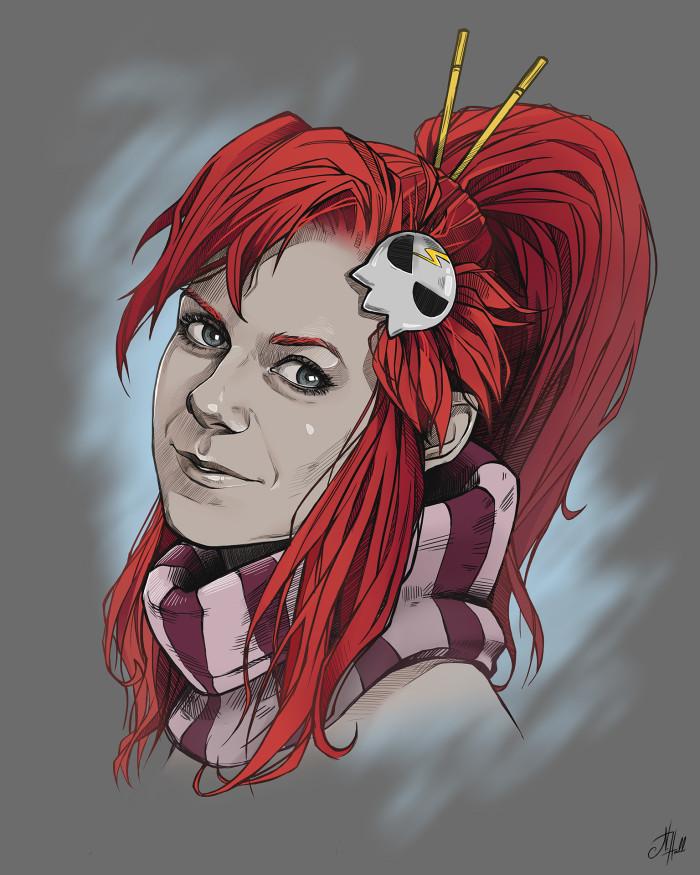 Еее, первый заказ выполнен на 100%! Собственно, вот и сама заказчица аниме-портретов - подруга Маша в образе Йоко  | Author: Natali Hall