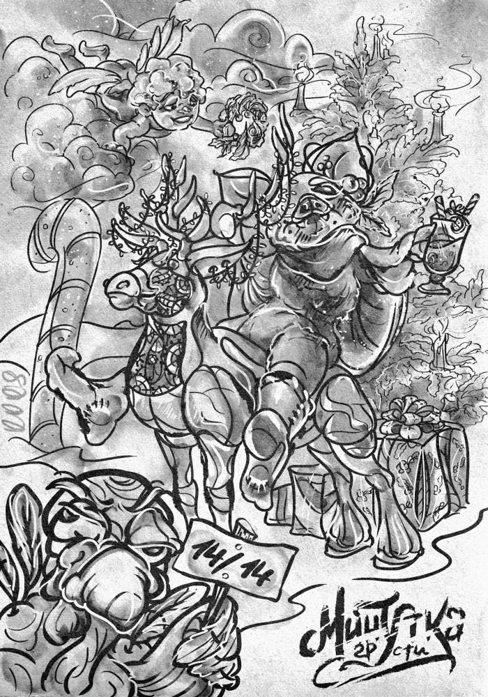 Рождественский марафон от Амино. Необходимо собрать воедино все темы, публикуемые с 1 по 7 января включительно. Темы открывались каждый день, по две за раз.  Чуть-чуть не успела закончить в срок. Поэтому к итогам марафона не была допущена.   14 из 14 заявленных объектов:  1. Рождественский олень и Мышь (в моём случае, летучая)  2. Сахарная трость и щелкунчик (олень замаскирован под Щелкунчика, игрушку, раскалывающую орехи)  3. Рождественский венок и гирлянда  4. Омела и ёлка  5. Носок и глинтвейн  6. Ангел и индейка  7. Свеча и подарок   Author: MGimg