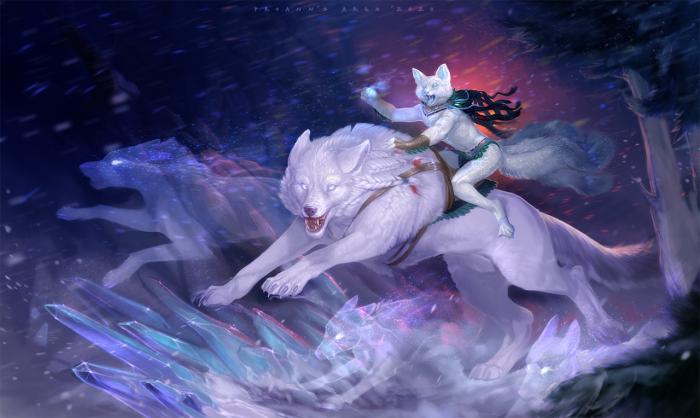 [SAI][PS][SFW] Белые охотники  Коммишн для Etis.  Мой Patreon: www.patreon.com/lynx_catgirl  #anthro #fox #magic #night #polar #saddle #wind #winter #wolf #crystal #art #lynx_catgirl #sai #ProAnn   Author: lynx_catgirl