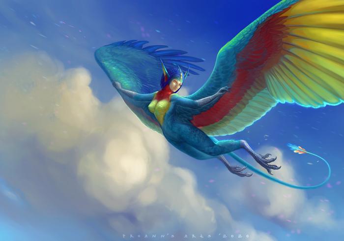 Аюна - раса, придуманная KitKatZZ, и заказ для нее, естественно :3 Нарисовалась за два дня, видимо, потому что уж больно люблю я пернатых :3  Мой Patreon: www.patreon.com/lynx_catgirl  #avian #bird #feather #fly #harpy #sai #wing #lynx_catgirl #art #proann | Author: lynx_catgirl