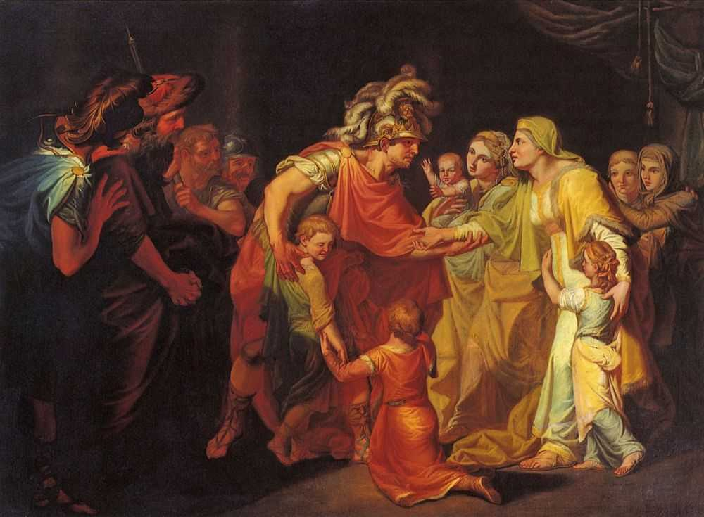 Великий князь Святослав, целующий мать и детей своих по возвращении с Дуная в Киев — Акимов Иван Акимович
