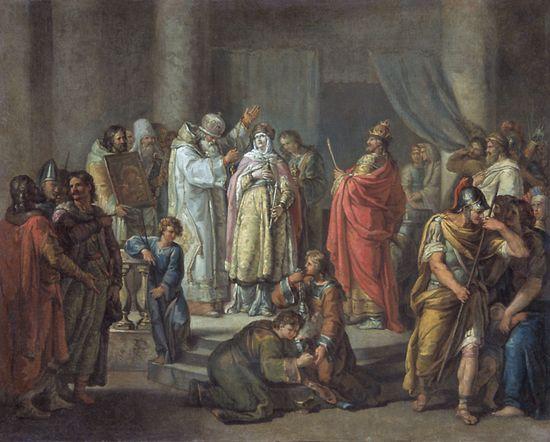 Крещение княгини Ольги в Константинополе — Акимов Иван Акимович