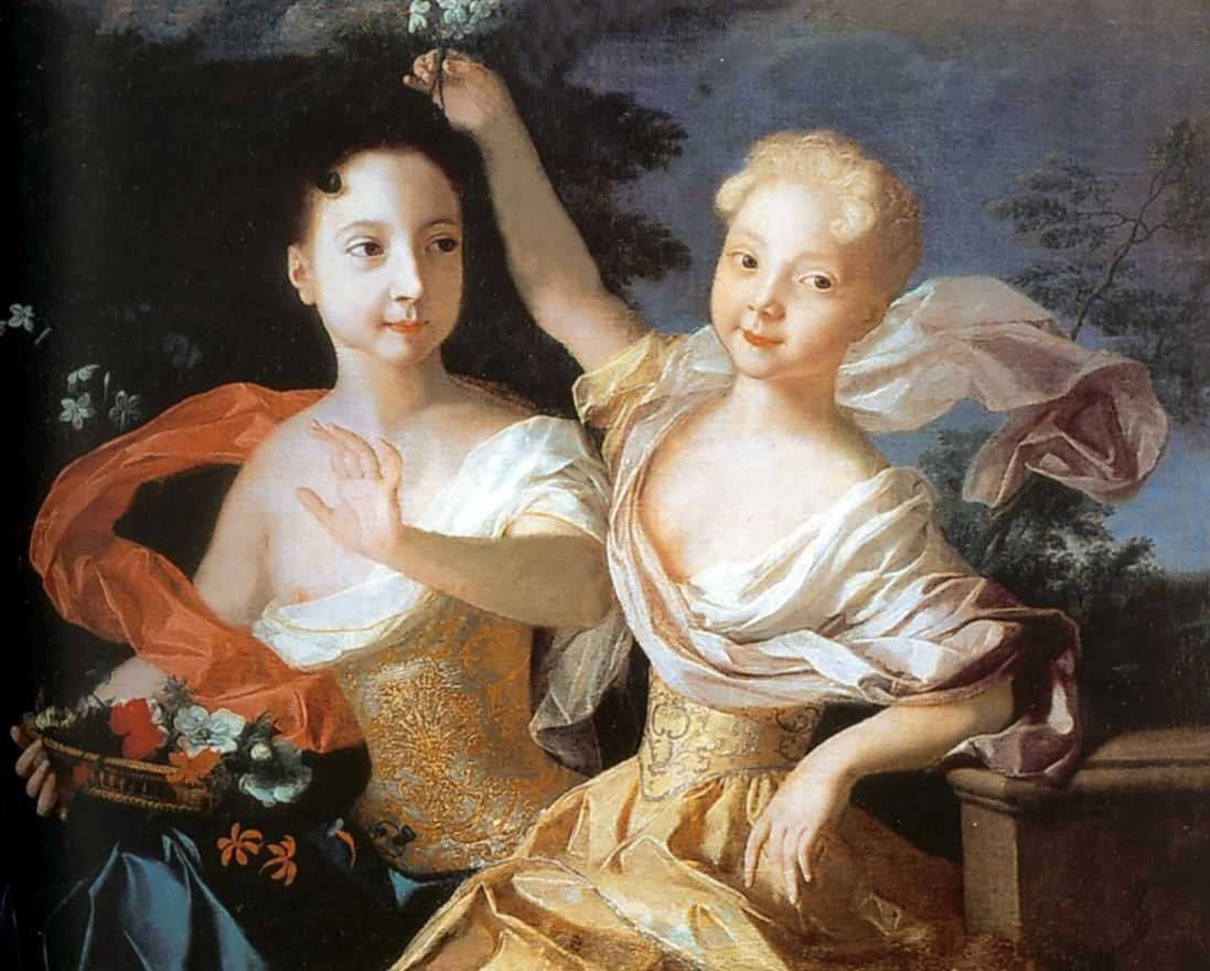 Портрет царевен Анны Петровны и Елизаветы Петровны — Каравакк Луи