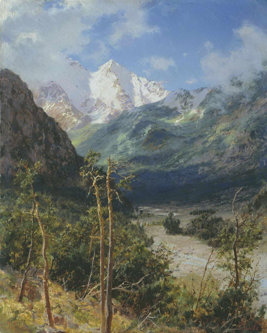 Горный пейзаж. Вершины Эльбруса — Киселев Александр Александрович