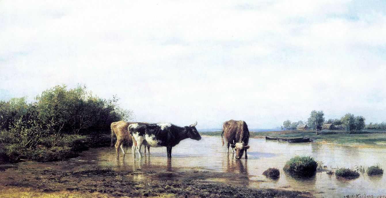 Коровы на водопое — Клодт Михаил Константинович