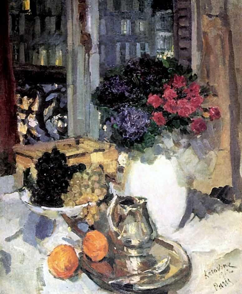 Гвоздики и фиалки в белой вазе — Коровин Константин Алексеевич