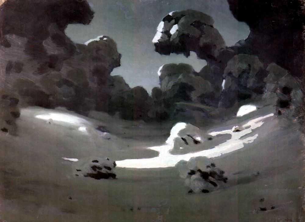 Лунное пятно в зимнем лесу — Куинджи Архип Иванович