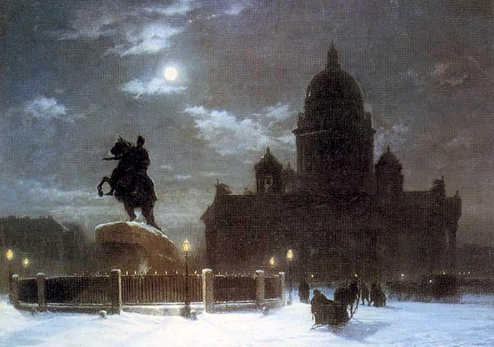 Вид Исаакиевского собора при лунном освещении — Куинджи Архип Иванович