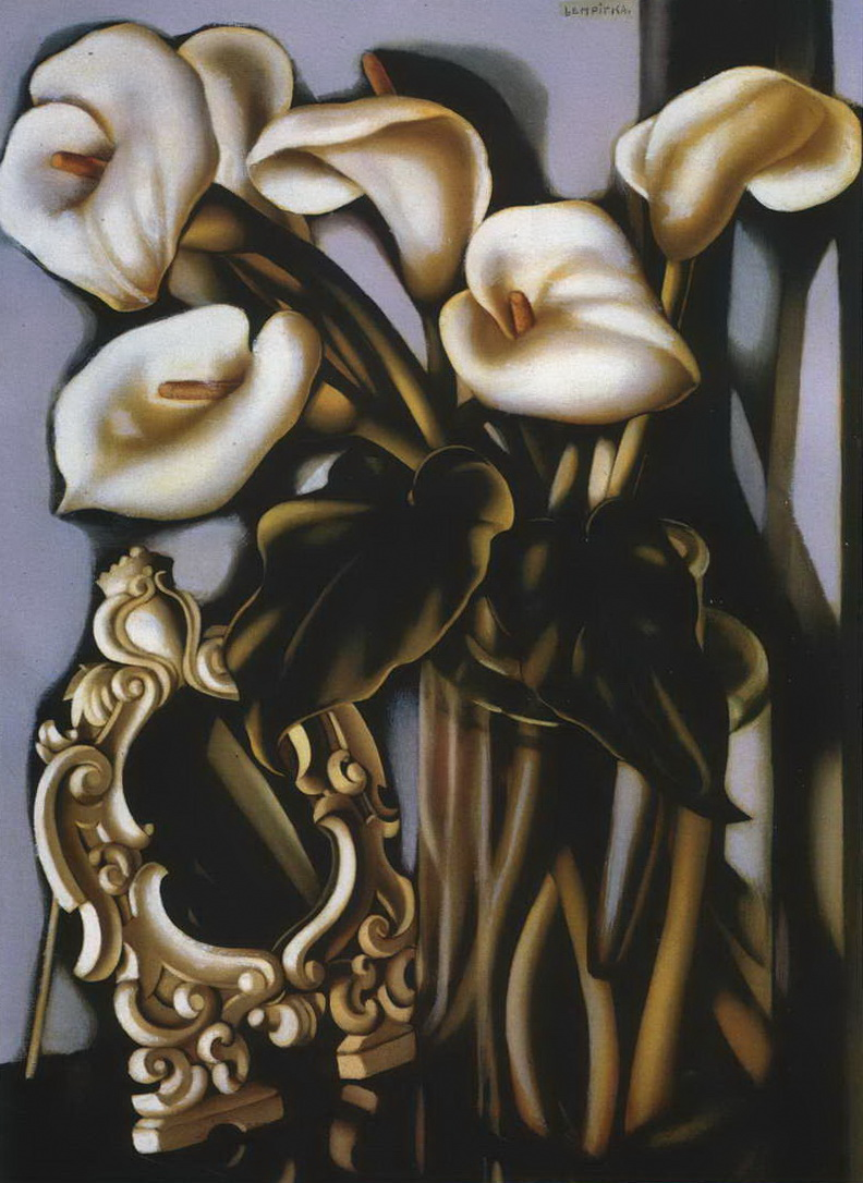 Натюрморт с Каллами и зеркалом — Лемпицка Тамара