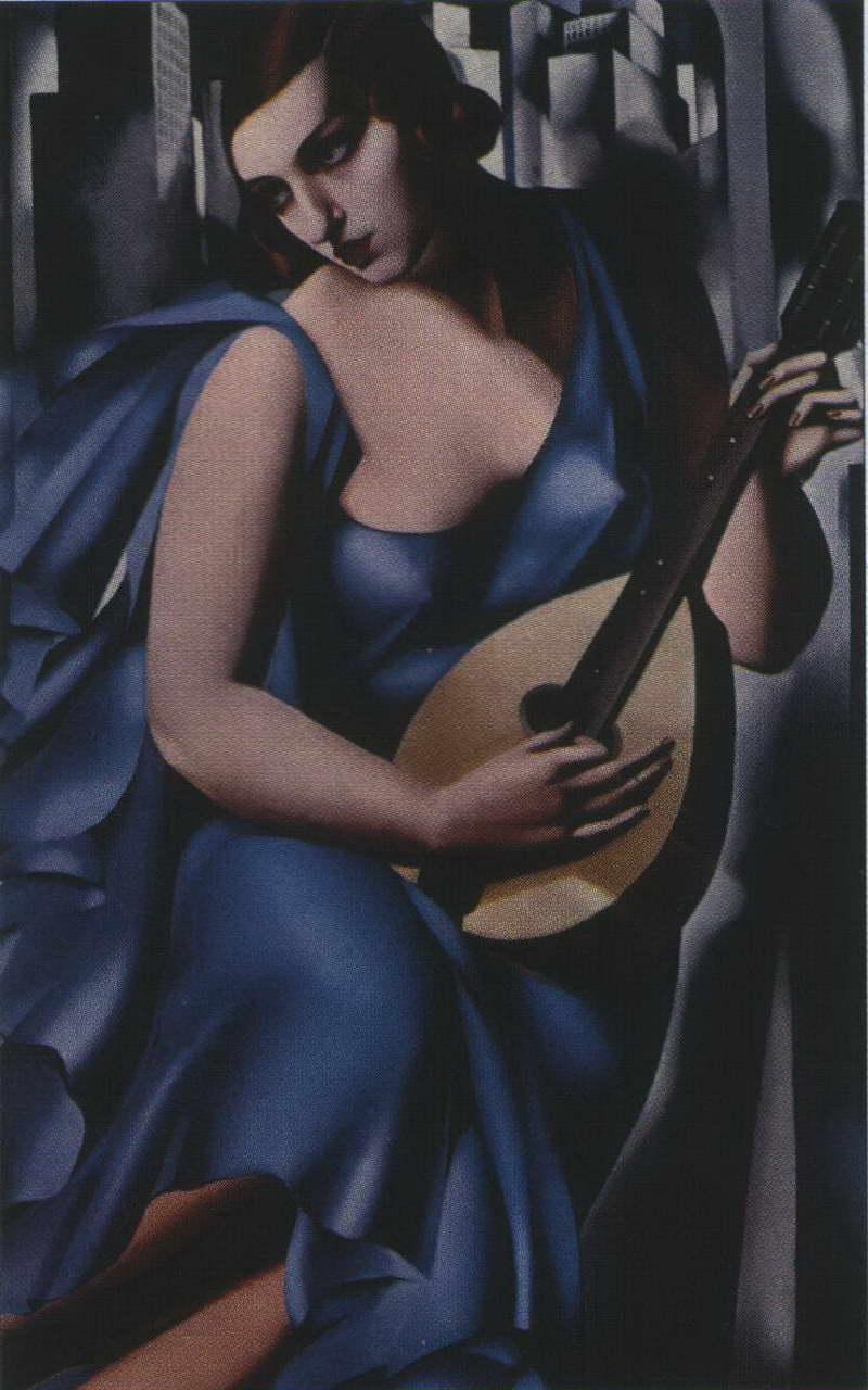 Дама в голубом платье с гитарой — Лемпицка Тамара