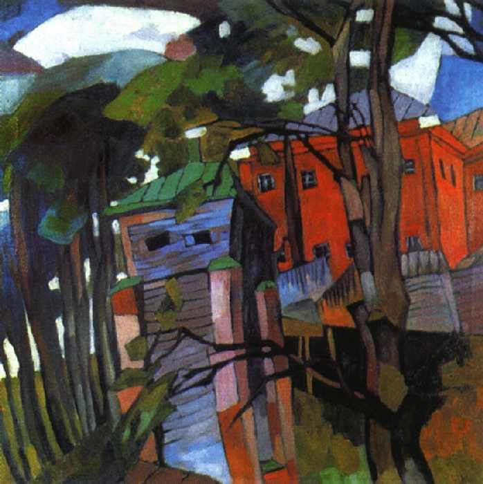 Пейзаж с красным домом — Лентулов Аристарх Васильевич